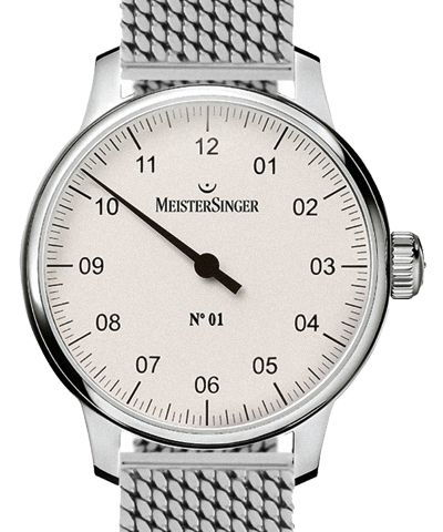 No 01 43mm White Dial Milanaise Classic Steel Strap Folding Clasp