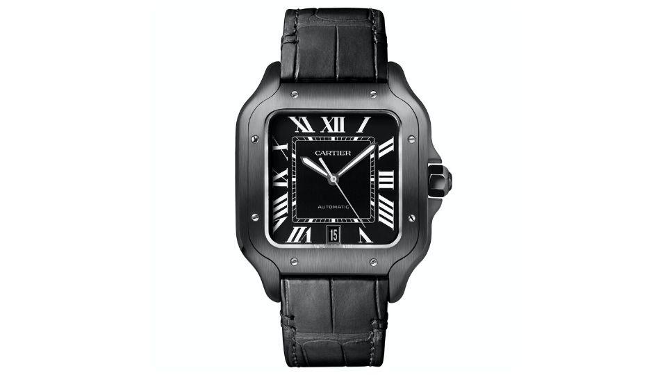 All Black Everything: Cartier Santos De Cartier with black ADLC coating