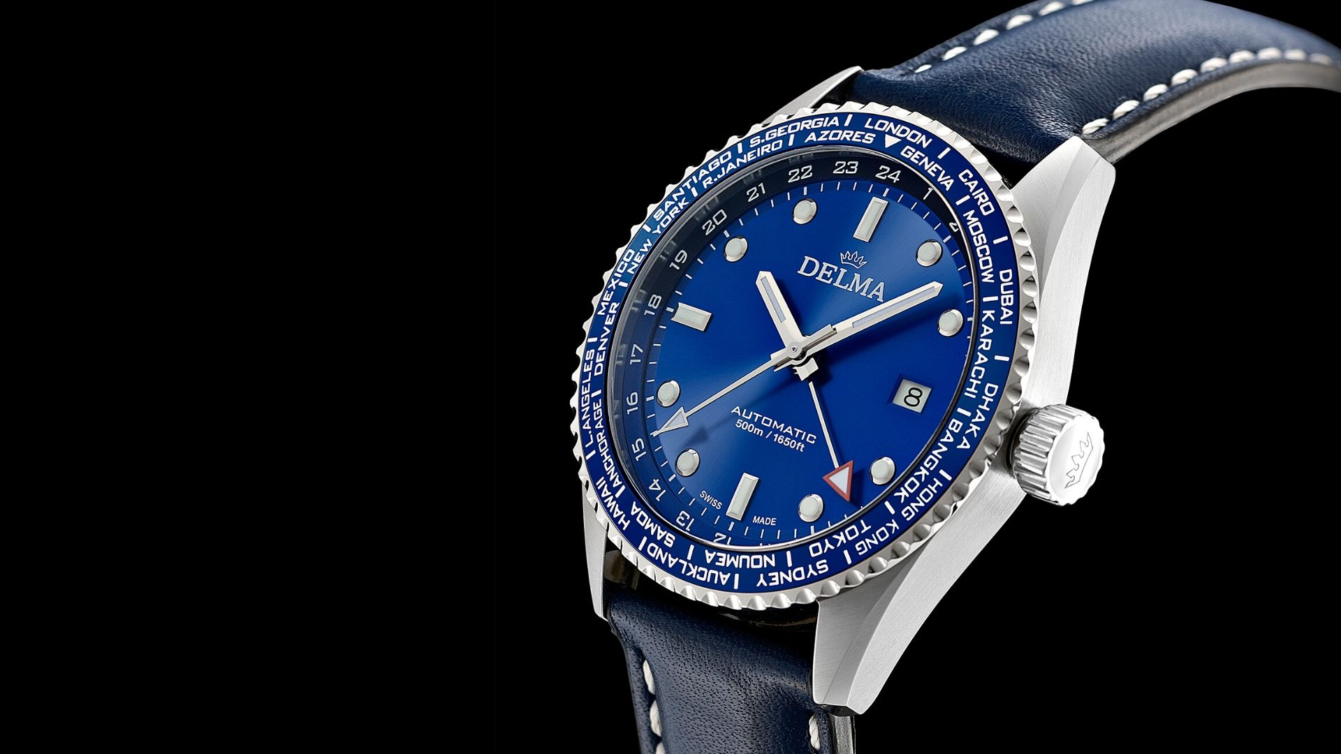 24 time zones at a glance with the Delma Cayman Worldtimer